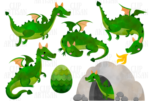 Dragon Clipart Watercolor Dragons Graphic Illustrations By ClipArtisan - Image 4