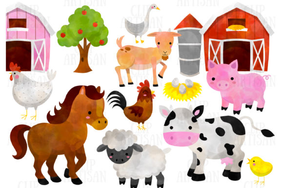 Watercolor Farm Animals Clipart Grafik von ClipArtisan