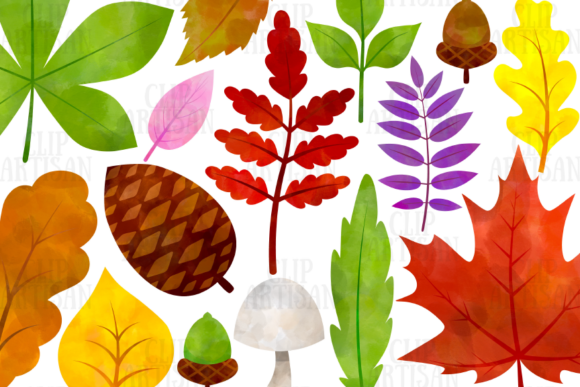 Watercolor Fall Leaves Clipart Autumn Graphic Illustrations By ClipArtisan