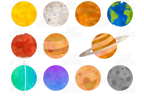 Planets Clipart Watercolor Solar System Graphic Illustrations By ClipArtisan