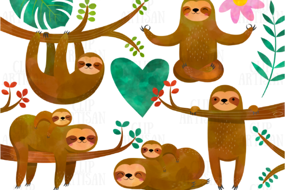 Watercolor Sloths Clipart Graphic Illustrations By ClipArtisan