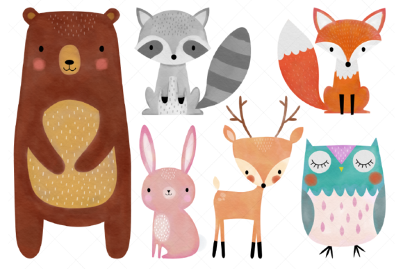 Watercolor Woodland Animals Clipart Graphic By ClipArtisan
