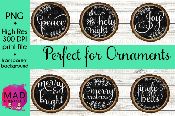 Rustic Wood Slice and Black Ornaments Graphic By maddesigns718