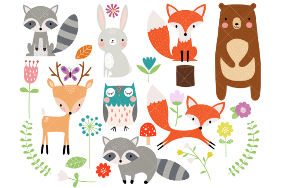 Woodland Animal Clipart Graphic Illustrations By ClipArtisan - Image 1
