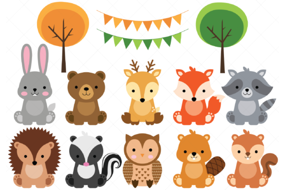 Woodland Baby Animals Clipart Gráfico Por ClipArtisan