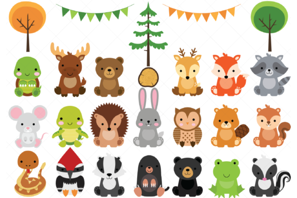 Woodland Baby Animals Clipart Graphic By ClipArtisan