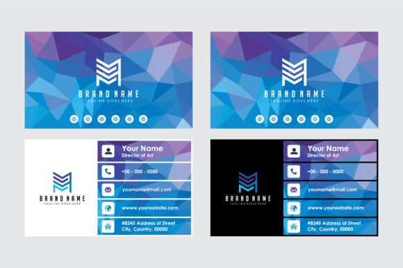 Print on Demand: Blue Purple Polgonal Business Card Graphic Print Templates By noory.shopper