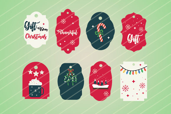 Download Free Christmas Gift Tag Graphic By Goldenflower Creative Fabrica for Cricut Explore, Silhouette and other cutting machines.