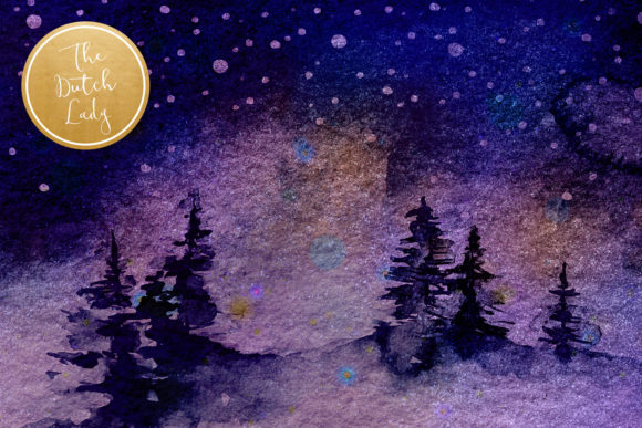 Print on Demand: Digital Backgrounds Winter Night Skies Graphic Backgrounds By daphnepopuliers - Image 4