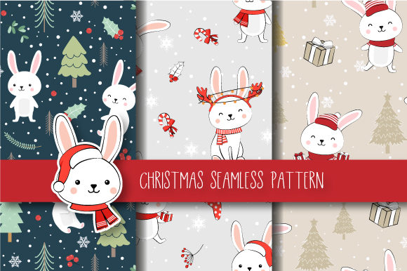 Print on Demand: Christmas Seamless Pattern Bunny Graphic Patterns By jannta - Image 1