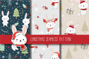 Christmas Seamless Pattern Bunny Graphic By Jannta