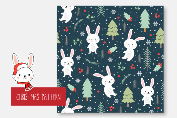 Download Free Christmas Seamless Pattern Bunny Graphic By Jannta Creative for Cricut Explore, Silhouette and other cutting machines.