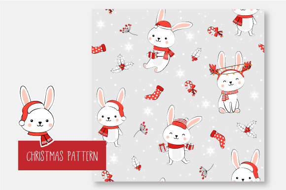 Print on Demand: Christmas Seamless Pattern Bunny Graphic Patterns By jannta - Image 6