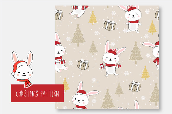 Print on Demand: Christmas Seamless Pattern Bunny Graphic Patterns By jannta - Image 7