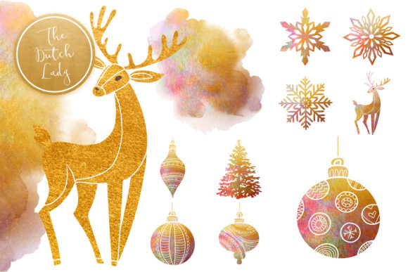 Print on Demand: Christmas Ornaments Clipart Set Graphic Illustrations By daphnepopuliers - Image 5