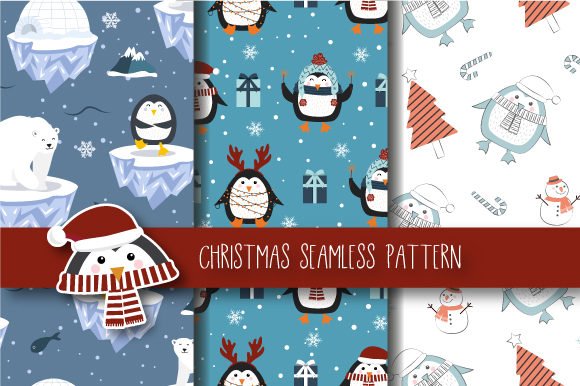 Print on Demand: Christmas Seamless Pattern Penguin Graphic Patterns By JANNTA - Image 1