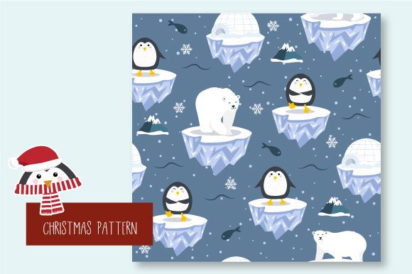 Print on Demand: Christmas Seamless Pattern Penguin Graphic Patterns By JANNTA - Image 5