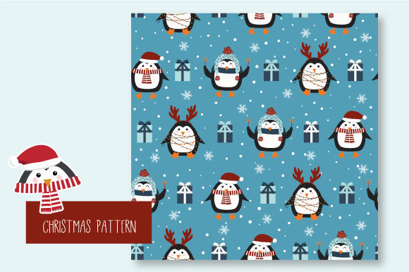 Print on Demand: Christmas Seamless Pattern Penguin Graphic Patterns By JANNTA - Image 6
