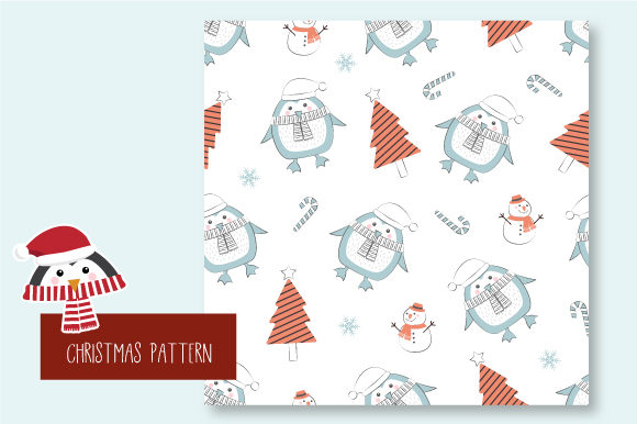 Print on Demand: Christmas Seamless Pattern Penguin Graphic Patterns By JANNTA - Image 7