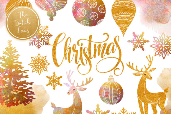 Print on Demand: Christmas Ornaments Clipart Set Graphic Illustrations By daphnepopuliers - Image 1