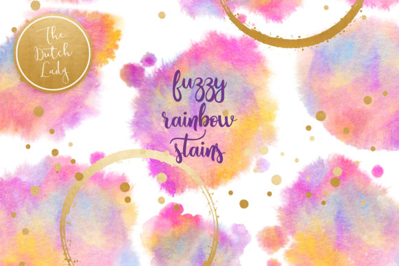 Print on Demand: Rainbow Fuzzy Ink Stain Clipart Set Graphic Crafts By daphnepopuliers - Image 1