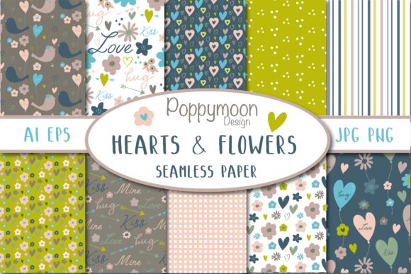 Print on Demand: Hearts and Flowers Paper Pack Graphic Patterns By poppymoondesign