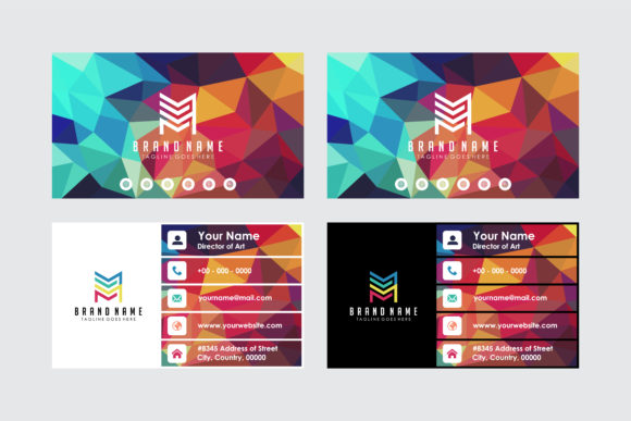 Print on Demand: Dark Polygonal Business Card Graphic Print Templates By noory.shopper