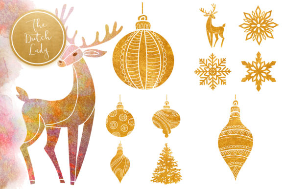 Print on Demand: Christmas Ornaments Clipart Set Graphic Illustrations By daphnepopuliers - Image 3