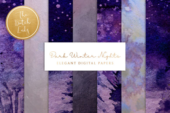 Print on Demand: Digital Backgrounds Winter Night Skies Graphic Backgrounds By daphnepopuliers