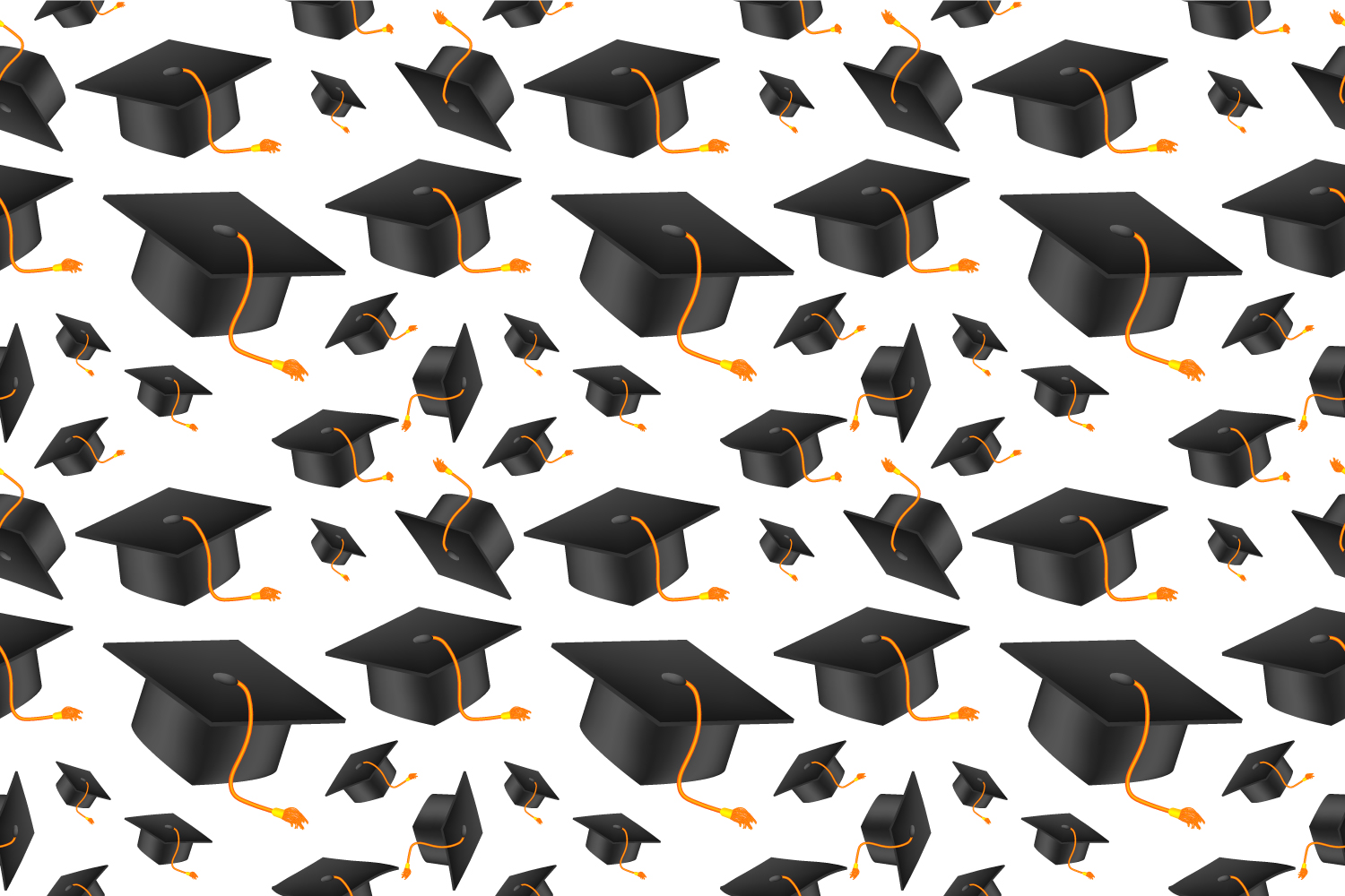 Download Free Graduation Cap Seamless Pattern Graphic By Manuchi Creative for Cricut Explore, Silhouette and other cutting machines.
