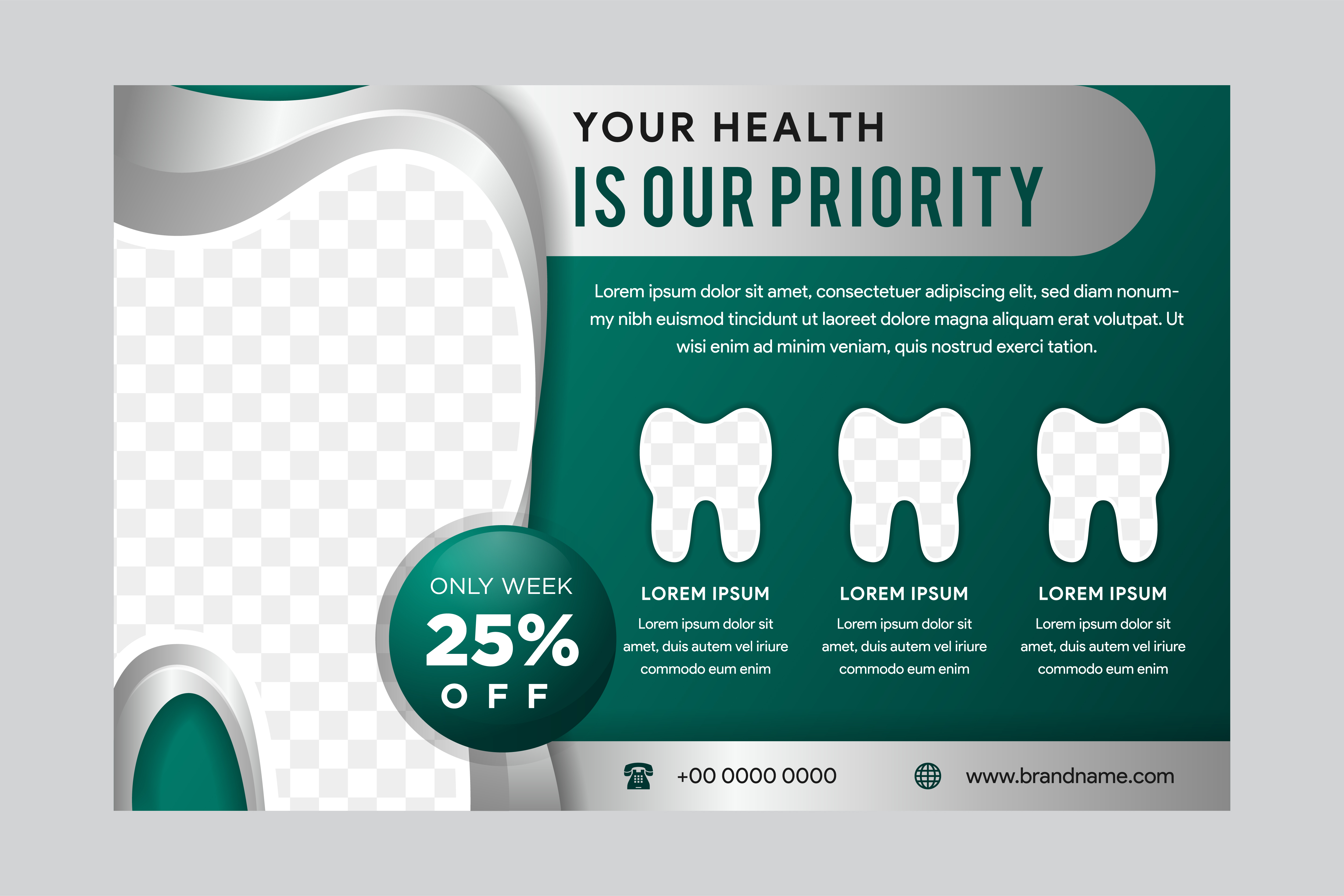 Download Free Horizontal Flyer Dental Green Graphic By Noory Shopper for Cricut Explore, Silhouette and other cutting machines.