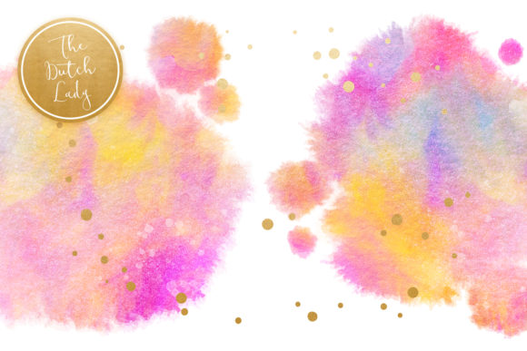 Print on Demand: Rainbow Fuzzy Ink Stain Clipart Set Graphic Crafts By daphnepopuliers - Image 3