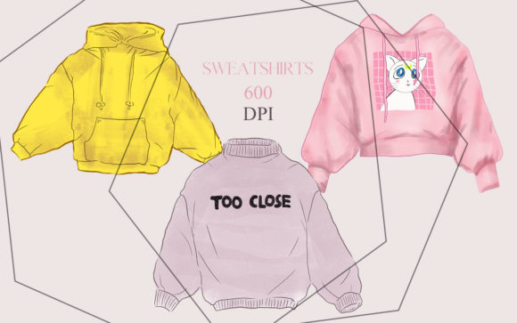 Print on Demand: 3 Sweatshirts Clothes Illustrations Graphic Illustrations By kaleriiatv