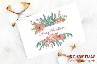 Download Free 5 Christmas Cards Watercolor Decoration Graphic By Pawstudio for Cricut Explore, Silhouette and other cutting machines.