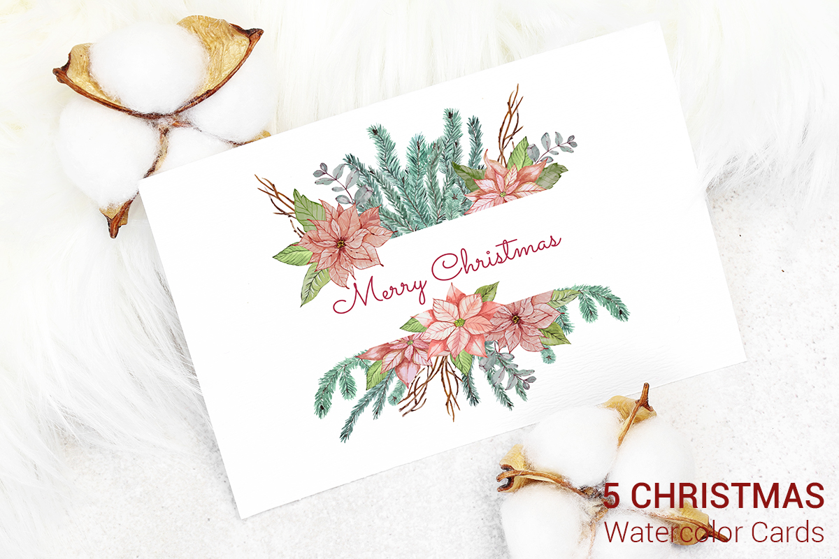 5 Christmas Cards Watercolor Decoration Graphic By Pawstudio