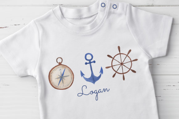 Download Free Watercolor Nautical Trio Graphic By Lemagiqueboutique Creative for Cricut Explore, Silhouette and other cutting machines.