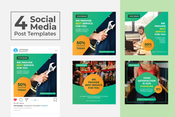 Download Free Social Media Post Template Vol 08 Graphic By Dendysign for Cricut Explore, Silhouette and other cutting machines.