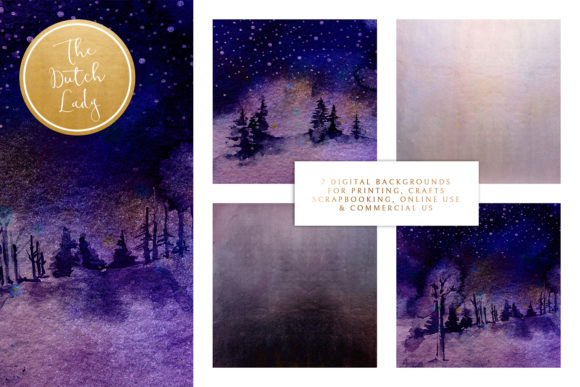 Print on Demand: Digital Backgrounds Winter Night Skies Graphic Backgrounds By daphnepopuliers - Image 2