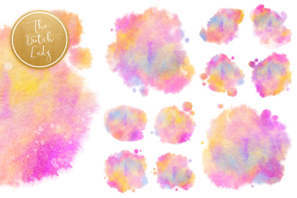 Print on Demand: Rainbow Fuzzy Ink Stain Clipart Set Graphic Crafts By daphnepopuliers - Image 5