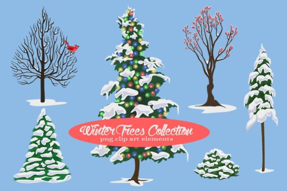 Winter Trees Collection Graphic Illustrations By Dapper Dudell - Image 1