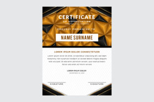 Vertical Certificate Gold Black Polygona Graphic By noory.shopper