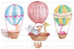 Download Free Watercolor Hot Air Balloon Trio Graphic By Lemagiqueboutique SVG Cut Files