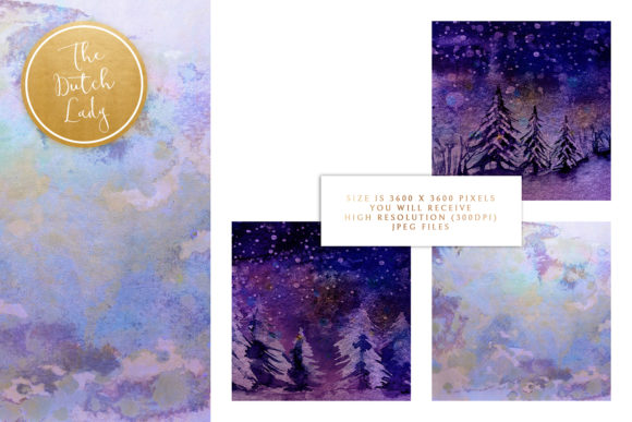 Print on Demand: Digital Backgrounds Winter Night Skies Graphic Backgrounds By daphnepopuliers - Image 3