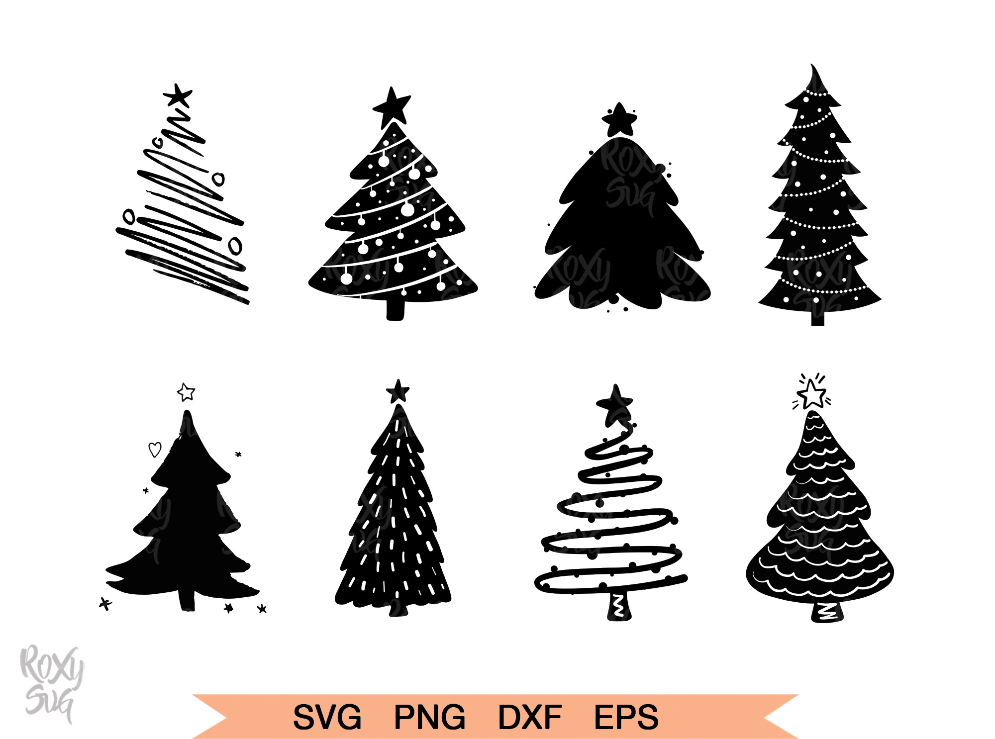 Download Free Christmas Tree Silhouette Graphic By Roxysvg26 Creative Fabrica for Cricut Explore, Silhouette and other cutting machines.