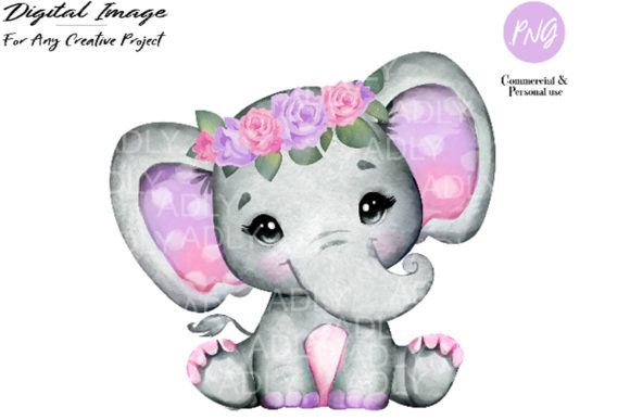 Print on Demand: Purple Pink Elephant Clip Art Graphic Illustrations By adlydigital - Image 1