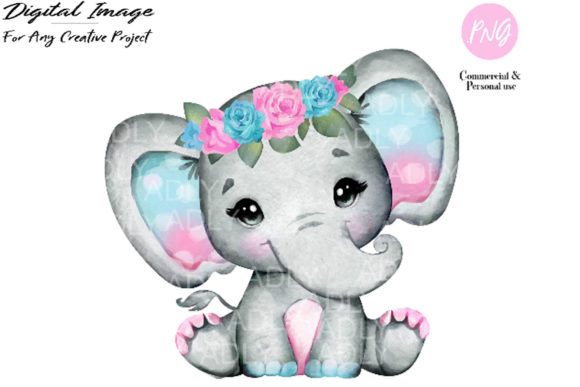 Print on Demand: Purple Turquoise Elephant Clipart Graphic Illustrations By adlydigital