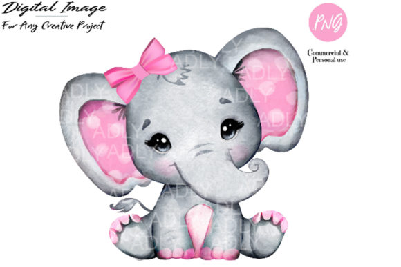 Watercolor Girl Elephant Clip Art Graphic By adlydigital