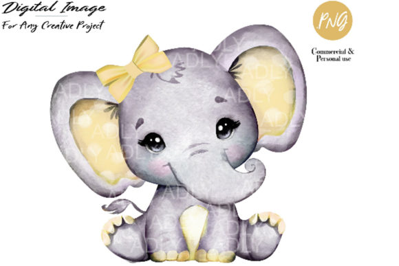 Print on Demand: Yellow Girl Elephant Clip Art Graphic Illustrations By adlydigital - Image 1