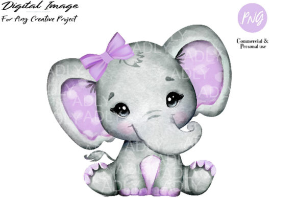 Print on Demand: Purple Girl Elephant Clip Art Graphic Illustrations By adlydigital - Image 1