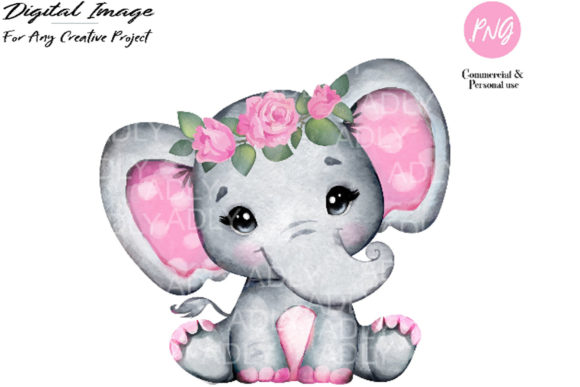Print on Demand: Watercolor Girl Elephant Clip Art Graphic Illustrations By adlydigital - Image 1